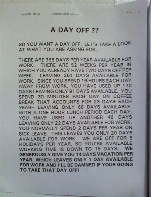 A day off?!?!?!