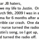I owe my life to Justin Bieber