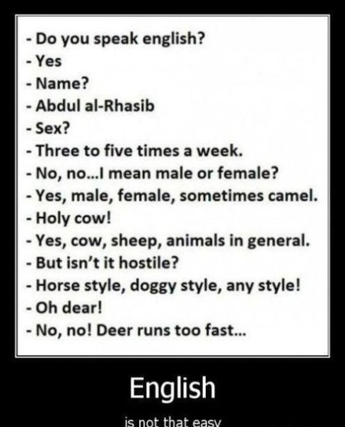 English is not that easy...